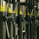 Photo: Cranks for moving the shelves in the stacks