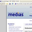 Screenshot der linken oberen Ecke des Medieninformationssystems MEDIAS