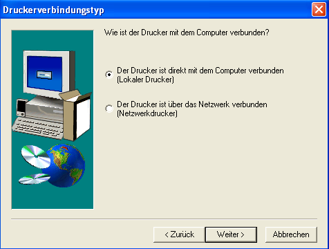 Screenshot Druckerverbindungstyp