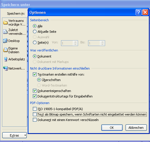 Screenshot Word: PDF-Optionen
