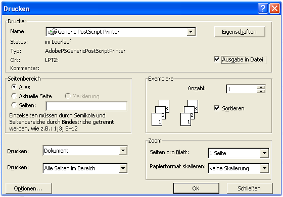 Screenshot Word: Druckdialogfenster